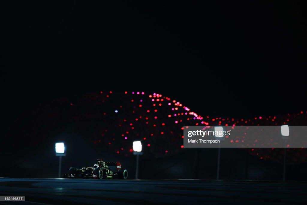 Kimi Raikkonen of Finland and Lotus drives on his way to winning the Abu Dhabi Formula One Grand Prix at the Yas Marina Circuit on November 4, 2012 in Abu Dhabi, United Arab Emirates.