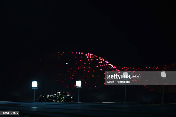Kimi Raikkonen of Finland and Lotus drives on his way to winning the Abu Dhabi Formula One Grand Prix at the Yas Marina Circuit on November 4 2012 in...