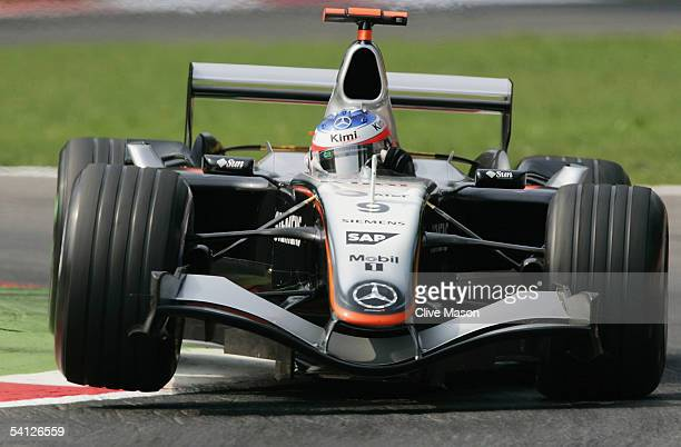 Kimi Raikkonen of Finland and McLaren Mercedes in action during the practice session for the Italian F1 Grand Prix at the Autodromo Nazionale di...