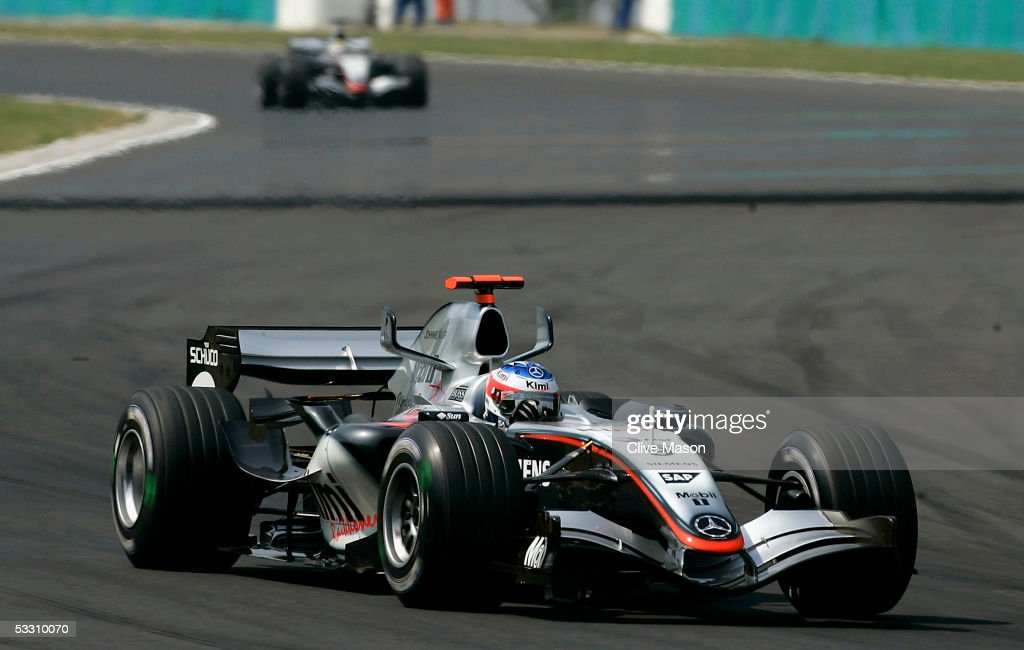 Kimi Raikkonen of Finland and McLaren Mercedes on his way to victory in the Hungarian F1 Grand Prix at the Hungaroring on July 31, 2005 in Budapest, Hungary.