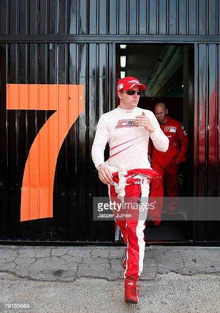 Kimi Raikkonen of Finland and team Ferrari leaves the teams garage in between test sessions at the Ricardo Tormo racetrack on January 21 in Cheste...