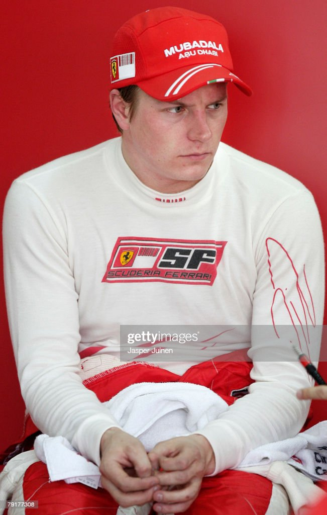Kimi Raikkonen of Finland and team Ferrari sits inside his team's garage during Formula one testing at the Ricardo Tormo racetrack on January 23, 2008, in Cheste near Valencia, Spain.