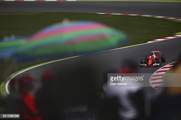 Kimi Raikkonen of Finland drives the Scuderia Ferrari SF16H Ferrari 059/5 turbo during the Spanish Formula One Grand Prix at Circuit de Catalunya on...
