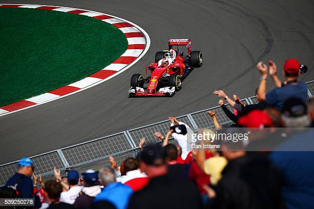 Kimi Raikkonen of Finland drives the Scuderia Ferrari SF16H Ferrari 059/5 turbo during practice for the Canadian Formula One Grand Prix at Circuit...