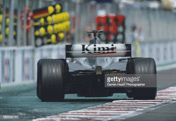 Kimi Raikkonen of Finland drives the West McLaren Mercedes McLaren MP417 Mercedes V10 to second place during the Formula One French Grand Prix on 21...