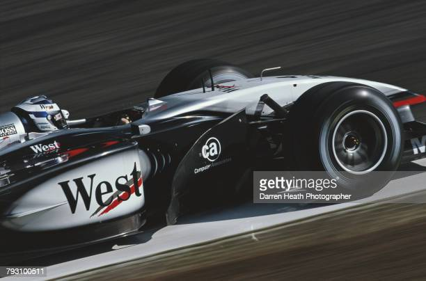 Kimi Raikkonen of Finland drives the West McLaren Mercedes McLaren MP417 Mercedes V10 during the Formula One San Marino Grand Prix on 14 April 2002...