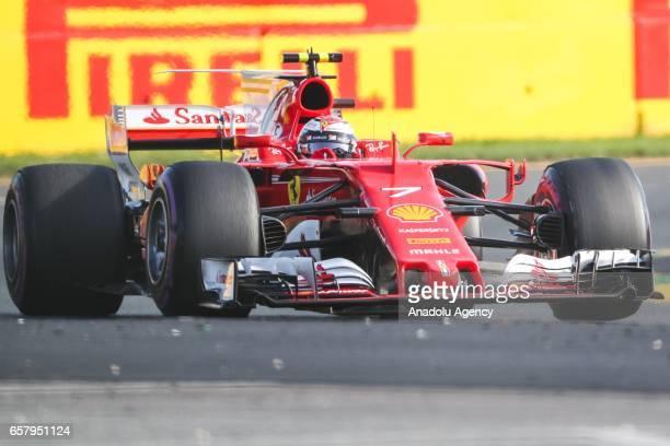 Kimi Raikkonen of Finland driving for Scuderia Ferrari races during the 2017 Rolex Australian Formula 1 Grand Prix at Albert Park circuit in...