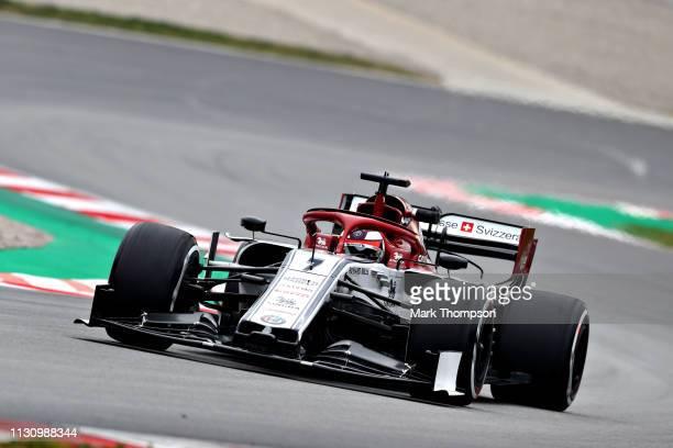 Kimi Raikkonen of Finland driving the Alfa Romeo Racing C38 Ferrari on track during day three of F1 Winter Testing at Circuit de Catalunya on...
