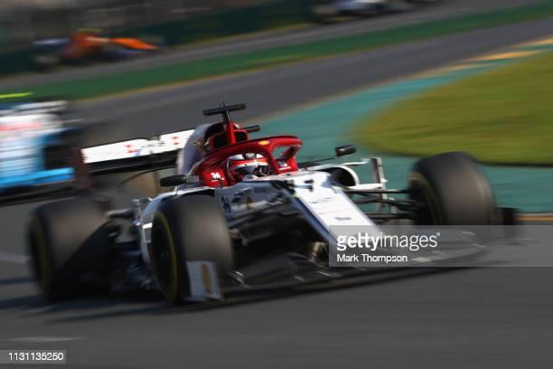 Kimi Raikkonen of Finland driving the Alfa Romeo Racing C38 Ferrari on track during the F1 Grand Prix of Australia at Melbourne Grand Prix Circuit on...