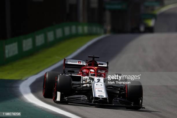 Kimi Raikkonen of Finland driving the Alfa Romeo Racing C38 Ferrari on track during the F1 Grand Prix of Brazil at Autodromo Jose Carlos Pace on...