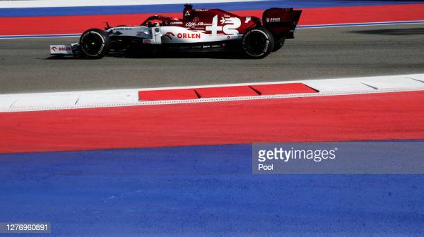 Kimi Raikkonen of Finland driving the Alfa Romeo Racing C39 Ferrari on track during the F1 Grand Prix of Russia at Sochi Autodrom on September 27,...