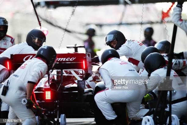 Kimi Raikkonen of Finland driving the Alfa Romeo Racing C39 Ferrari stops in the Pitlane during the F1 Grand Prix of Russia at Sochi Autodrom on...