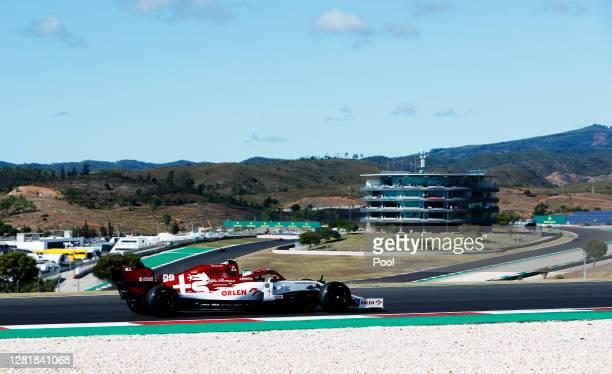 Kimi Raikkonen of Finland driving the Alfa Romeo Racing C39 Ferrari on track during practice ahead of the F1 Grand Prix of Portugal at Autodromo...