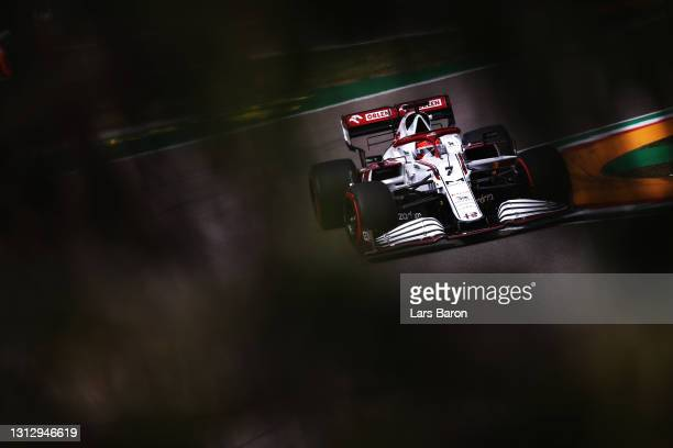 Kimi Raikkonen of Finland driving the Alfa Romeo Racing C41 Ferrari during final practice ahead of the F1 Grand Prix of Emilia Romagna at Autodromo...