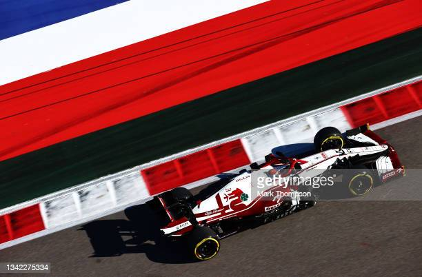 Kimi Raikkonen of Finland driving the Alfa Romeo Racing C41 Ferrari during practice ahead of the F1 Grand Prix of Russia at Sochi Autodrom on...