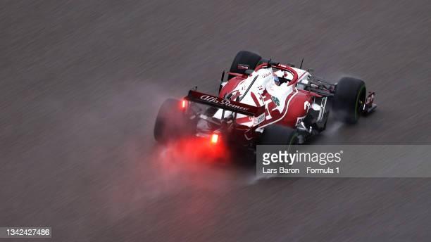 Kimi Raikkonen of Finland driving the Alfa Romeo Racing C41 Ferrari during qualifying ahead of the F1 Grand Prix of Russia at Sochi Autodrom on...