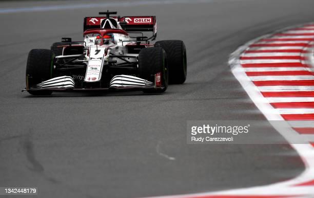 Kimi Raikkonen of Finland driving the Alfa Romeo Racing C41 Ferrari on track during qualifying ahead of the F1 Grand Prix of Russia at Sochi Autodrom...