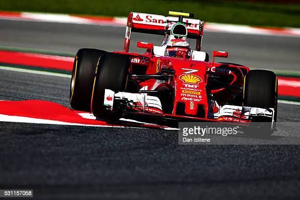 Kimi Raikkonen of Finland driving the Scuderia Ferrari SF16H Ferrari 059/5 turbo on track during practice for the Spanish Formula One Grand Prix at...
