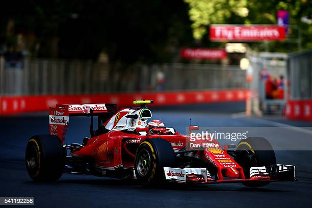 Kimi Raikkonen of Finland driving the Scuderia Ferrari SF16H Ferrari 059/5 turbo on track during the European Formula One Grand Prix at Baku City...