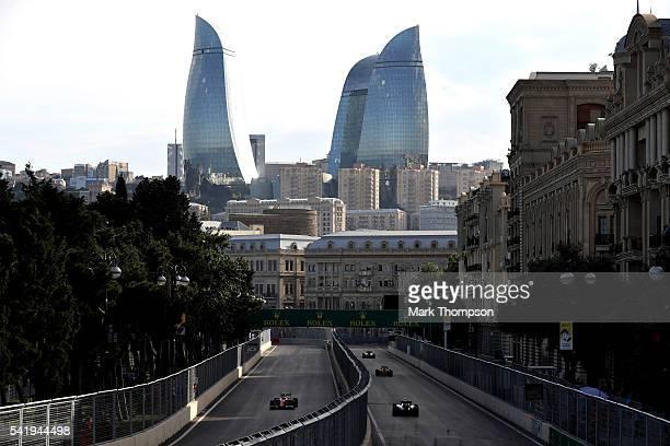 Kimi Raikkonen of Finland driving the Scuderia Ferrari SF16H Ferrari 059/5 turbo on track during the European Formula One Grand Prix at Baku City...