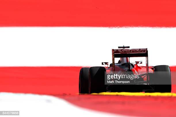 Kimi Raikkonen of Finland driving the Scuderia Ferrari SF16H Ferrari 059/5 turbo on track during practice for the Formula One Grand Prix of Austria...