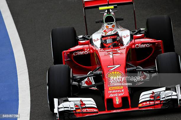 Kimi Raikkonen of Finland driving the Scuderia Ferrari SF16H Ferrari 059/5 turbo on track during practice for the Formula One Grand Prix of Great...