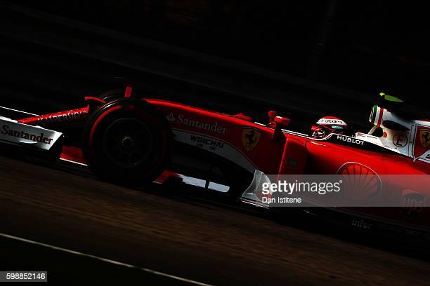 Kimi Raikkonen of Finland driving the Scuderia Ferrari SF16H Ferrari 059/5 turbo on track during final practice for the Formula One Grand Prix of...