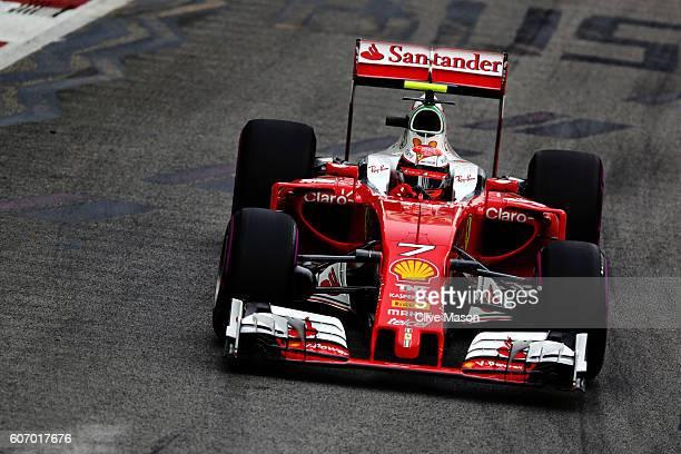 Kimi Raikkonen of Finland driving the Scuderia Ferrari SF16-H Ferrari 059/5 turbo on track during final practice for the Formula One Grand Prix of...