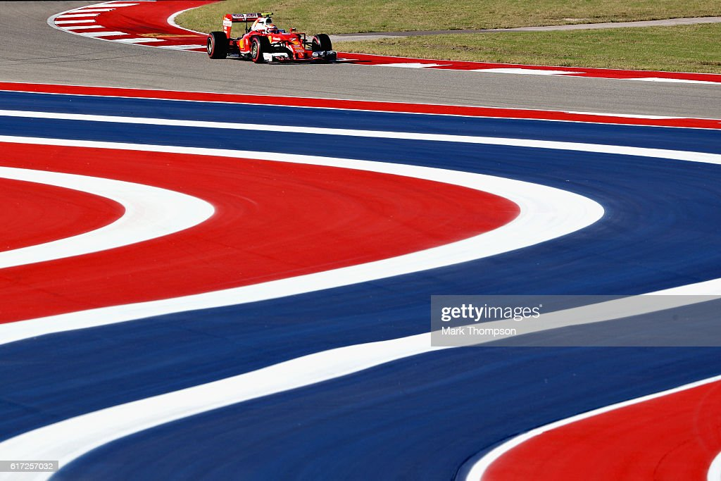 Kimi Raikkonen of Finland driving the (7) Scuderia Ferrari SF16-H Ferrari 059/5 turbo (Shell GP) on track during final practice for the United States Formula One Grand Prix at Circuit of The Americas on October 22, 2016 in Austin, United States.