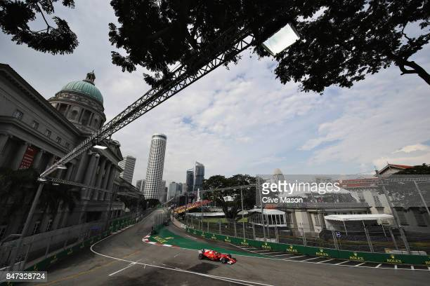 Kimi Raikkonen of Finland driving the Scuderia Ferrari SF70H fitted with the halo on track during practice for the Formula One Grand Prix of...