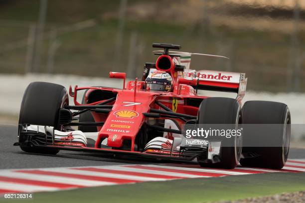 Kimi Raikkonen of Finland driving the Scuderia Ferrari SF70H in action during the Formula One winter testing at Circuit de Catalunya on March 10 2017...