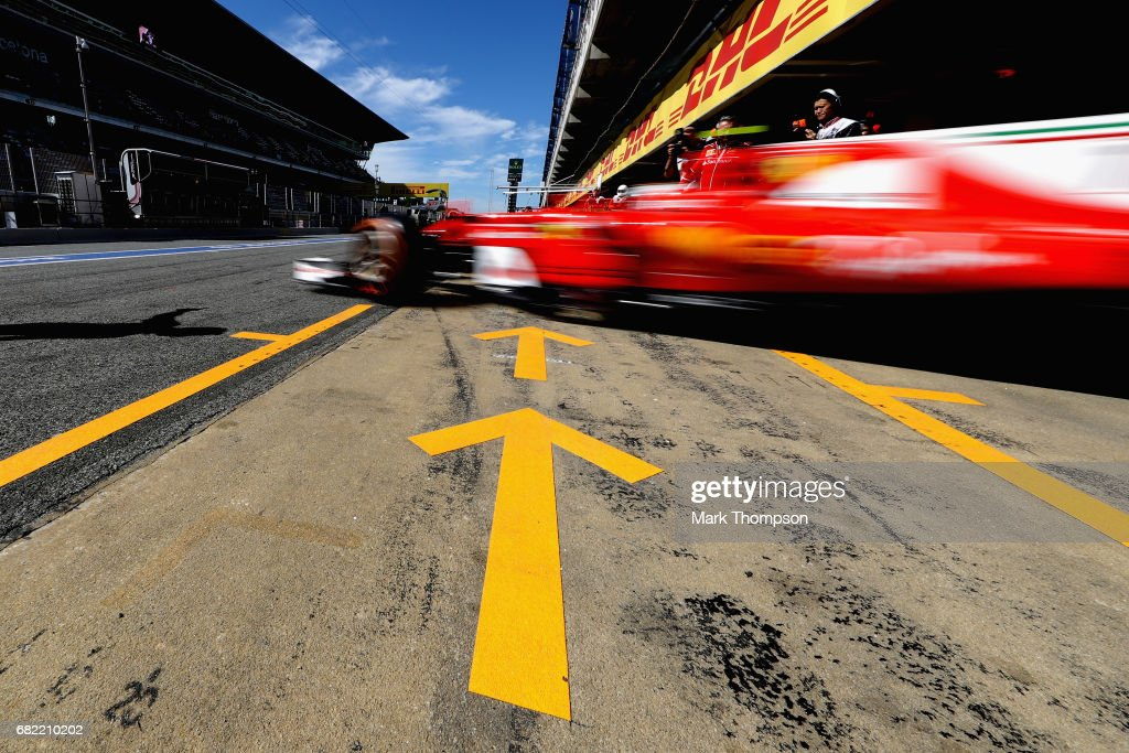 Kimi Raikkonen of Finland driving the (7) Scuderia Ferrari SF70H leaves the garage during practice for the Spanish Formula One Grand Prix at Circuit de Catalunya on May 12, 2017 in Montmelo, Spain.