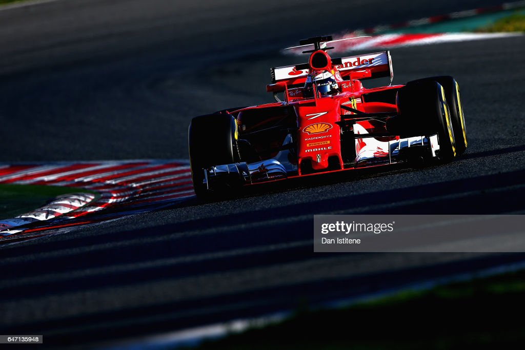 Kimi Raikkonen of Finland driving the (7) Scuderia Ferrari SF70H on track during day four of Formula One winter testing at Circuit de Catalunya on March 2, 2017 in Montmelo, Spain.
