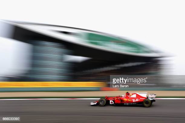 Kimi Raikkonen of Finland driving the Scuderia Ferrari SF70H on track during qualifying for the Formula One Grand Prix of China at Shanghai...