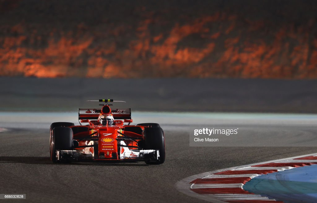 Kimi Raikkonen of Finland driving the (7) Scuderia Ferrari SF70H on track during practice for the Bahrain Formula One Grand Prix at Bahrain International Circuit on April 14, 2017 in Bahrain, Bahrain.