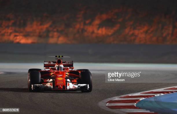 Kimi Raikkonen of Finland driving the Scuderia Ferrari SF70H on track during practice for the Bahrain Formula One Grand Prix at Bahrain International...