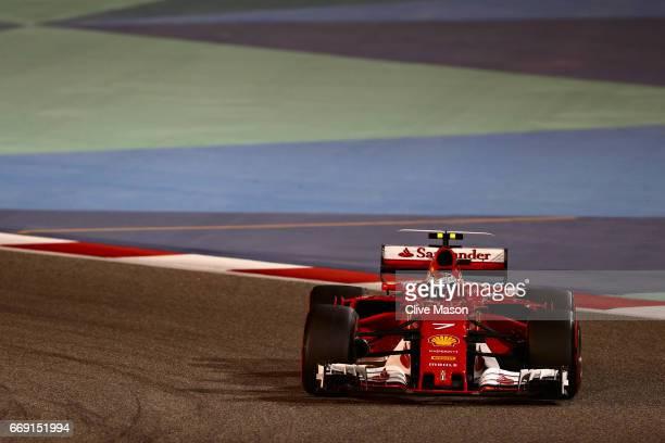 Kimi Raikkonen of Finland driving the Scuderia Ferrari SF70H on track during the Bahrain Formula One Grand Prix at Bahrain International Circuit on...