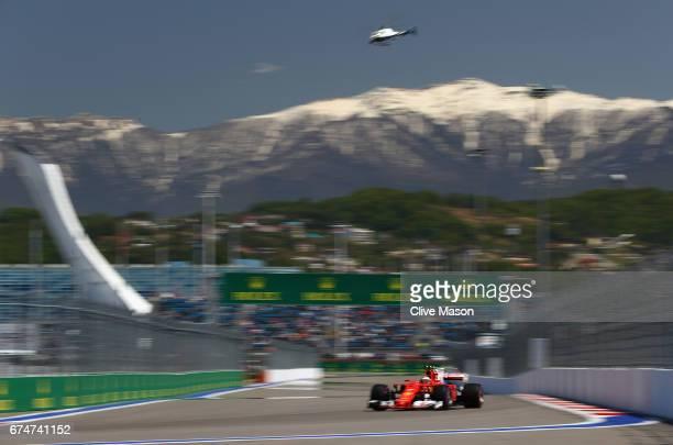 Kimi Raikkonen of Finland driving the Scuderia Ferrari SF70H on track during final practice for the Formula One Grand Prix of Russia on April 29,...