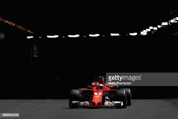 Kimi Raikkonen of Finland driving the Scuderia Ferrari SF70H on track during final practice for the Monaco Formula One Grand Prix at Circuit de...