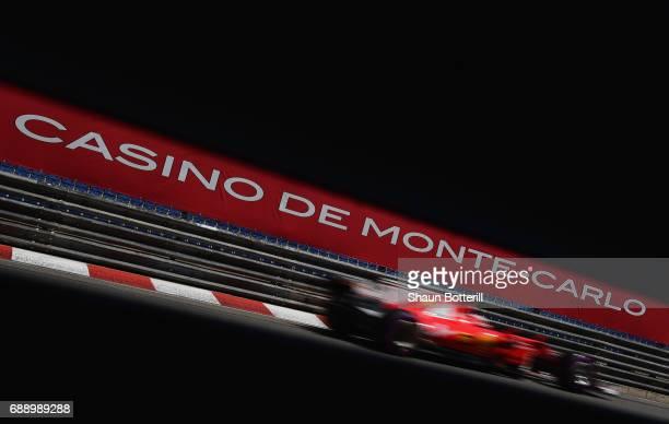 Kimi Raikkonen of Finland driving the Scuderia Ferrari SF70H on track during qualifying for the Monaco Formula One Grand Prix at Circuit de Monaco on...