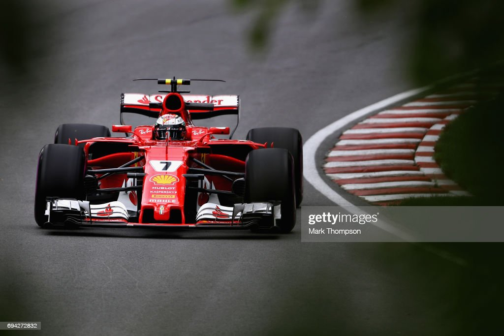 Kimi Raikkonen of Finland driving the (7) Scuderia Ferrari SF70H on track during practice for the Canadian Formula One Grand Prix at Circuit Gilles Villeneuve on June 9, 2017 in Montreal, Canada.