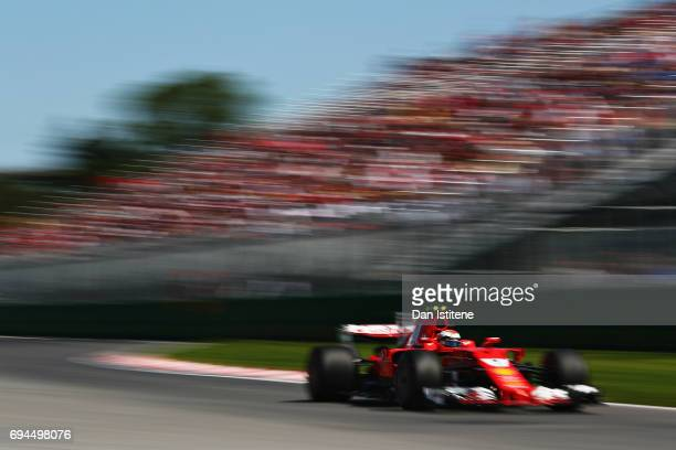 Kimi Raikkonen of Finland driving the Scuderia Ferrari SF70H on track during final practice for the Canadian Formula One Grand Prix at Circuit Gilles...