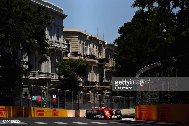 Kimi Raikkonen of Finland driving the Scuderia Ferrari SF70H on track during practice for the European Formula One Grand Prix at Baku City Circuit on...