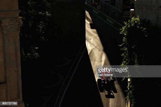 Kimi Raikkonen of Finland driving the Scuderia Ferrari SF70H on track during the Azerbaijan Formula One Grand Prix at Baku City Circuit on June 25,...