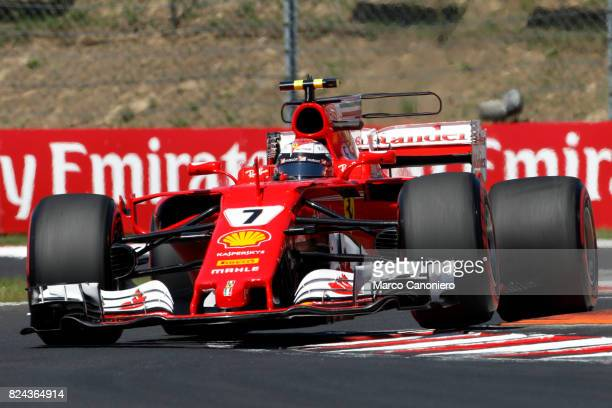 HUNGARORING BUDAPEST HUNGARY Kimi Raikkonen of Finland driving the Scuderia Ferrari SF70H on track during final practice for the Formula One Grand...