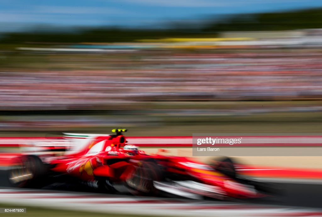 Kimi Raikkonen of Finland driving the (7) Scuderia Ferrari SF70H on track during the Formula One Grand Prix of Hungary at Hungaroring on July 30, 2017 in Budapest, Hungary.