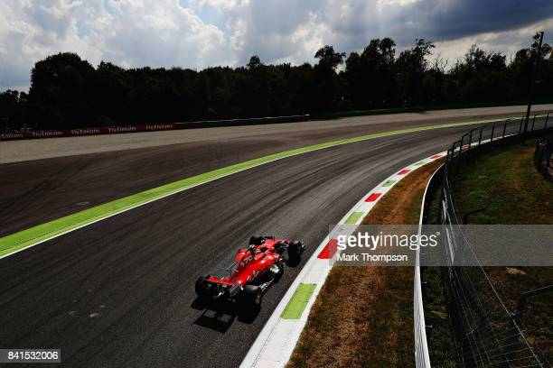 Kimi Raikkonen of Finland driving the Scuderia Ferrari SF70H on track during practice for the Formula One Grand Prix of Italy at Autodromo di Monza...