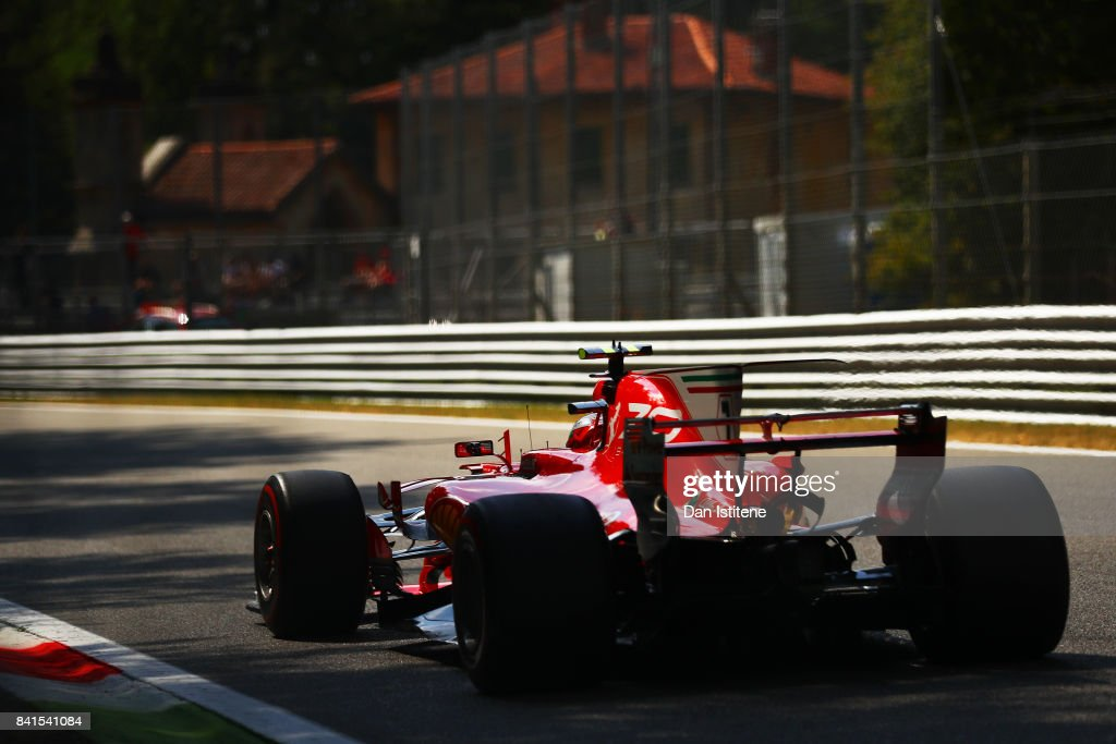 Kimi Raikkonen of Finland driving the (7) Scuderia Ferrari SF70H on track during practice for the Formula One Grand Prix of Italy at Autodromo di Monza on September 1, 2017 in Monza, Italy.
