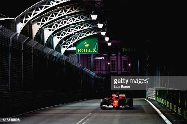 Kimi Raikkonen of Finland driving the Scuderia Ferrari SF70H on track during practice for the Formula One Grand Prix of Singapore at Marina Bay...