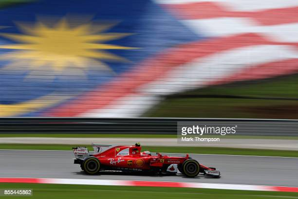 Kimi Raikkonen of Finland driving the Scuderia Ferrari SF70H on track during practice for the Malaysia Formula One Grand Prix at Sepang Circuit on...